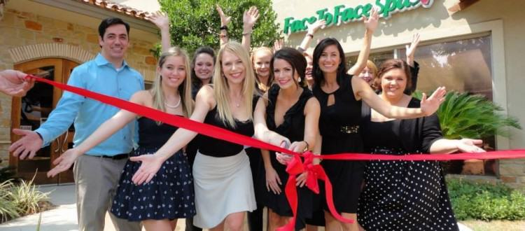 ribbon cutting Face to Face Spa grand opening